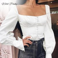 WildPinky Vintage Shirts Women Tops and Blouses Button Square Neck Shirts White Long Sleeve Blouse Women Clothing Blusa Feminina
