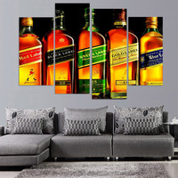 Canvas Painting 4 Piece Canvas Art Johnnie Walker Whiskey HD Printed Wall Art Home Decor Poster