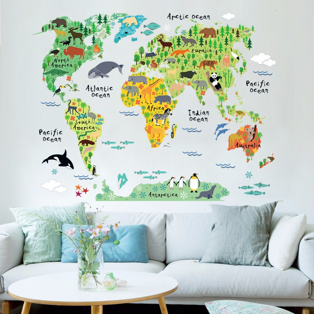 New style Animals Cartoon Children's background wall sticker world map Home Decoration pvc material Self adhesive wallpaper