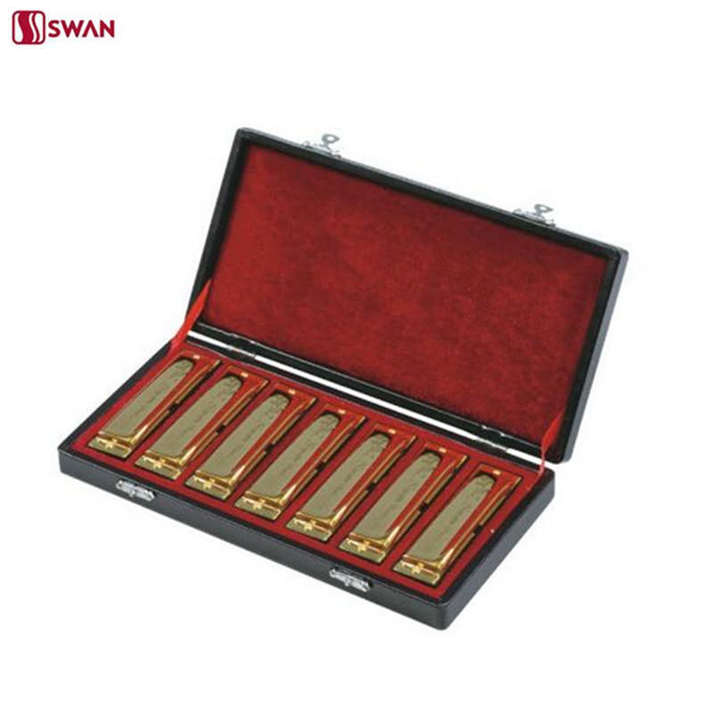 цены 7PCS/Set Swan 10 Holes Harmonica Diatonic Blues Harp A/B/C/D/E/F/G Keys Mouth Organ 7 tune packing Golden With Gift Box Gaita