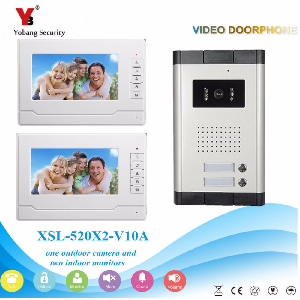 YobangSecurity Video Intercom 7Inch Wired Video Door Phone Doorbell Intercom Monitor Camera Bell System For 2 Units Apartment yobangsecurity wifi wireless video door phone doorbell camera system kit video door intercom with 7 inch monitor android ios app