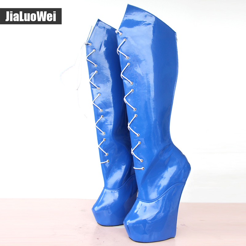 jialuowei Knee-High Extreme 20CM High Heels Stange Stlye Heel Heelless Boots Back Zip Lace-up Sexy Fetish Pony Platform Boots jialuowei women sexy fashion shoes lace up knee high thin high heel platform thigh high boots pointed stiletto zip leather boots