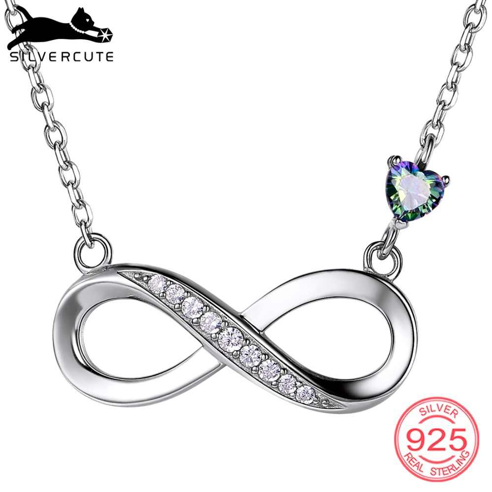 SILVERCUTE Topaz Infinity Necklace For Women Girls 925 Sterling Silver Fine Jewelry Endless Love Valentine's Day Gift SCP6419B