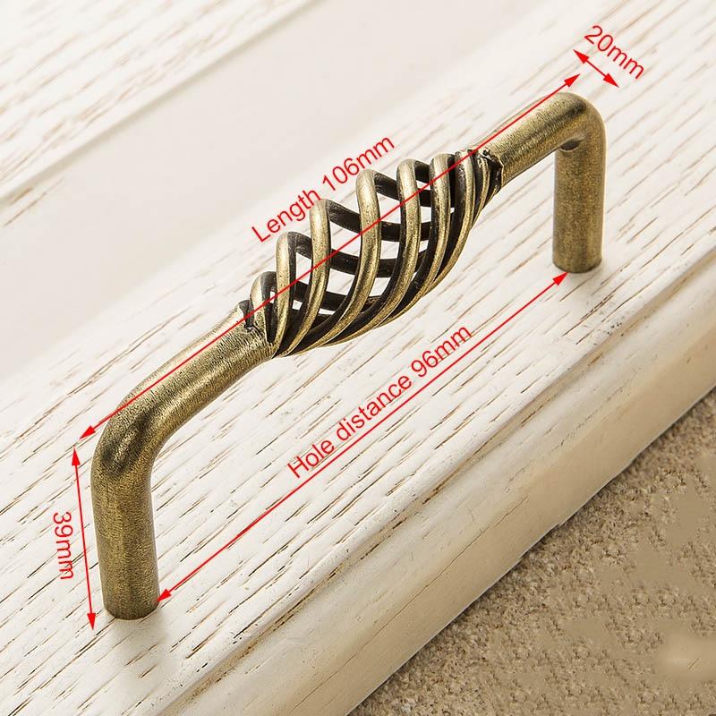 KAK винтажные антикварные бронзовые ручки для шкафа, полые ручки для птичьей клетки, ручки для выдвижных ящиков, Съемники дверей шкафа, Мебельная ручка - Цвет: 3002-96 Bronze