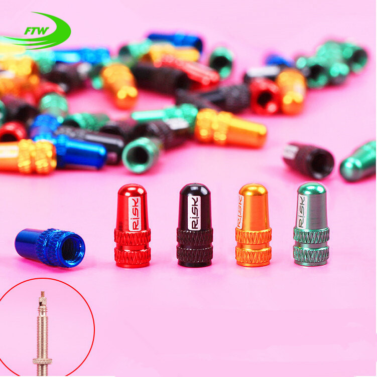 2Pcs/ Set 7 Colors Bicycle Wheel Tire Covered Protector Road MTB French Tyre Dustproof Bike Presta Valve Cap Accessories DC0203