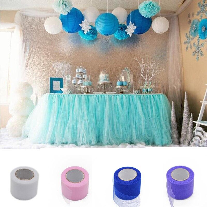25Yard 5cm width Tulle Roll Organza Wedding Decoration Marriage Party Decor Baby Shower Diy Craft Tutu Skirt Supplies