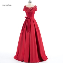 ruthshen Off Shoulder Long Red Beaded Evening Gown With Bowknot Draped Luxury Special Occasion Dress Gowns
