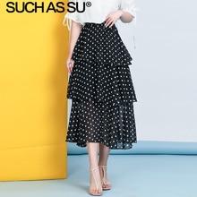 New 4 Color Chiffon Skirt Women Clothes 2019 Summer Print Polka Dot Skirts Midi High Waist 3 Layer Ruffle Tutu Skirt Female self belt ruffle waist high split skirt