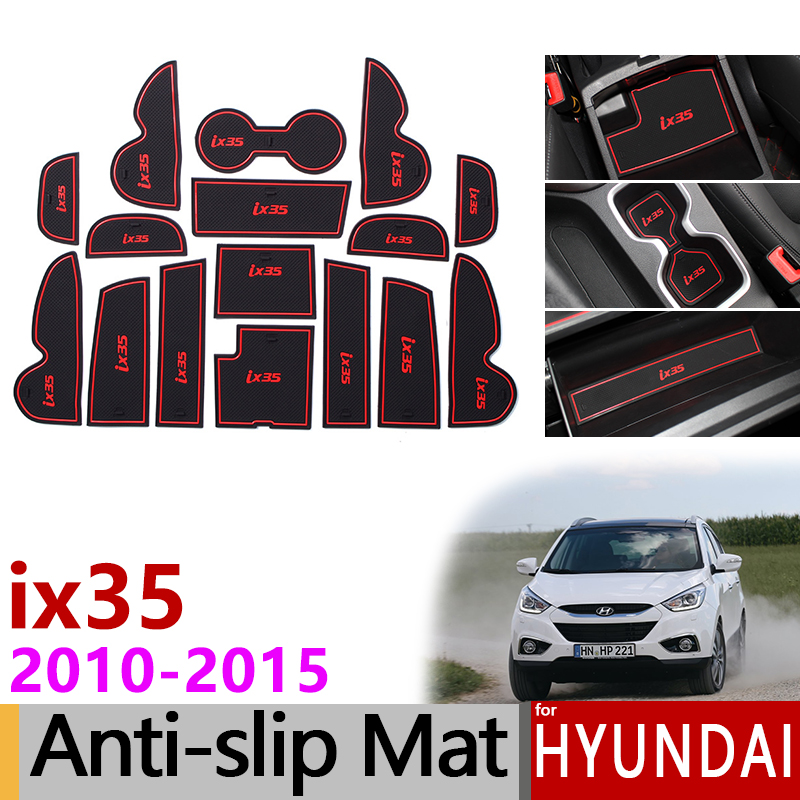 Anti-Slip Rubber Gate Slot Cup Mats for <font><b>Hyundai</b></font> <font><b>ix35</b></font> 2010-2015 LM Tucson ix <font><b>Accessories</b></font> Stickers 2010 2011 2012 2013 2014 2015 image