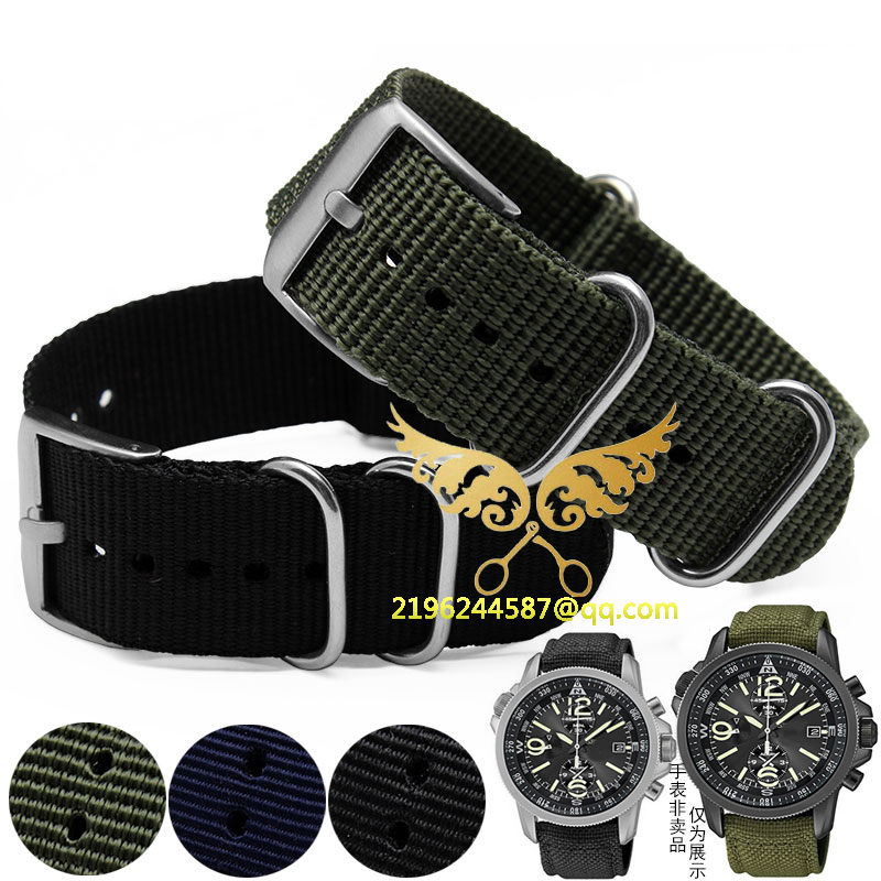 22mm Black Army Green Sports nato fabric Nylon watchband Watch Strap accessories Bands Buckle belt