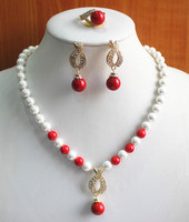 Women's Wedding engagement! Wholesale Women's 8mm white pearl mixed red coral Necklace earring 7/8/9) real silver jewelry