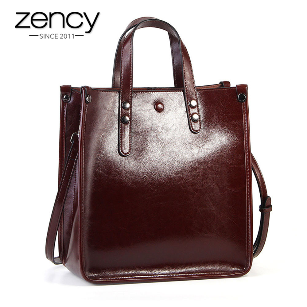 Zency Women Casual Tote 100 Genuine Leather Brown Handbag Retro Crossbody Messenger Purse For Lady Coffee