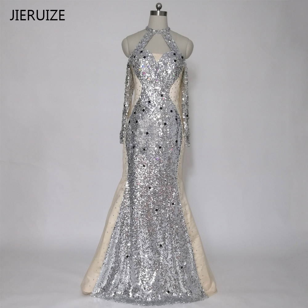 JIERUIZE Silver Sequin Crystals Mermaid Evening Dresses Long Off the Shoulder Long Sleeves Prom Dresses Formal