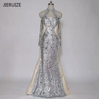 JIERUIZE Silver Sequin Crystals Mermaid Evening Dresses Long Off the Shoulder Long Sleeves Prom Dresses Formal Dresses