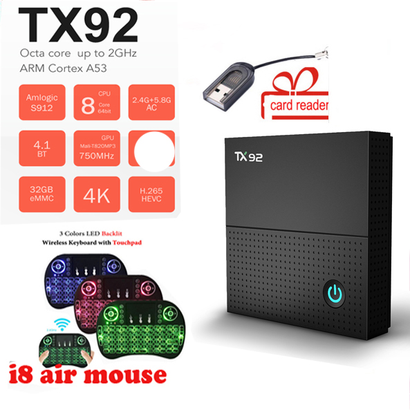 TX92 TV Box Amlogic S912 Octa-core Smart Android 7.1 Box DDR3 BT4.1 1000M LAN Max 3G+32G 2.4G/5G Wifi Media Player PK T95Z PLUS цена
