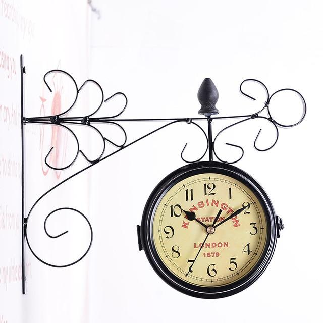 TUDA Free Shipping Retro Round Quartz Wall Clock Wrought Iron Metal Clock Double Face Wall Clock Retro Needle Wall Clock