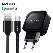 Magcle QC3.0 зарядное устройство 18 Вт быстрое зарядное устройство 3,0 быстрое зарядное устройство+ Magcle 2A USB кабель для samsung huawei xiaomi Прямая поставка
