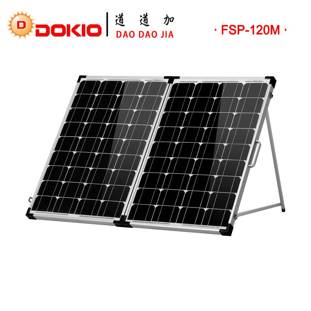 Dokio Foldable Tempered Glass Solar Panel 120w(2 * 60w) + 10A 12V Controller China Famous Brand Solar Panel For Car And Camping