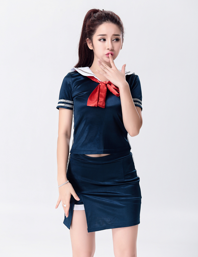 MOONIGHT Singer Stage Show Deep Blue Clothing Outfit Nightclub Performance Wear Singer Lead Dancer Clothing with Bow 1