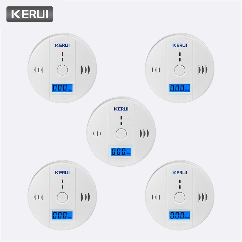 KERUI 5pcs High Sensitive Independent 85dB Warning LCD Photoelectric Home Security CO Gas Sensor Carbon Monoxide