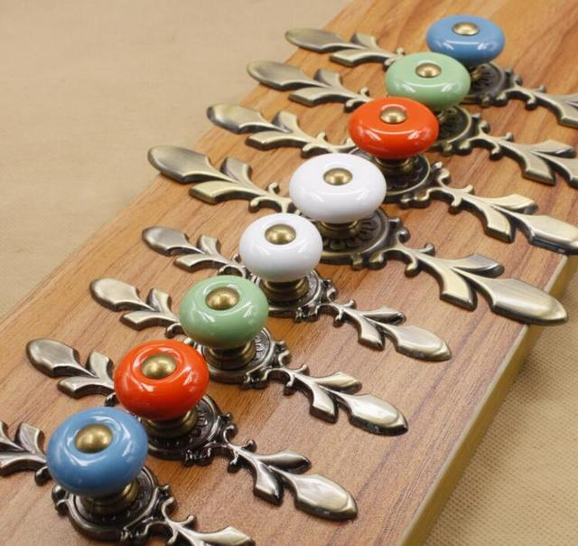Vintage Kitchen Cabinet Knobs Green / White / Yellow / Red Ceramic  Furniture Knobs Furniture Fitting