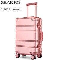SEABIRD 100% Aluminum Alloy Business Travel Hard Shell Spinner Pull Rod Box TSA Lock Cabin Trolley Suitcase Carry on Luggage