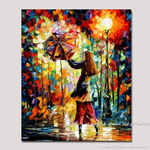 home office colorful girl. Handmade Rain Girl Colorful Palette Knife Figure Oil Painting On Canvas Modern Abstract Art Home Office I