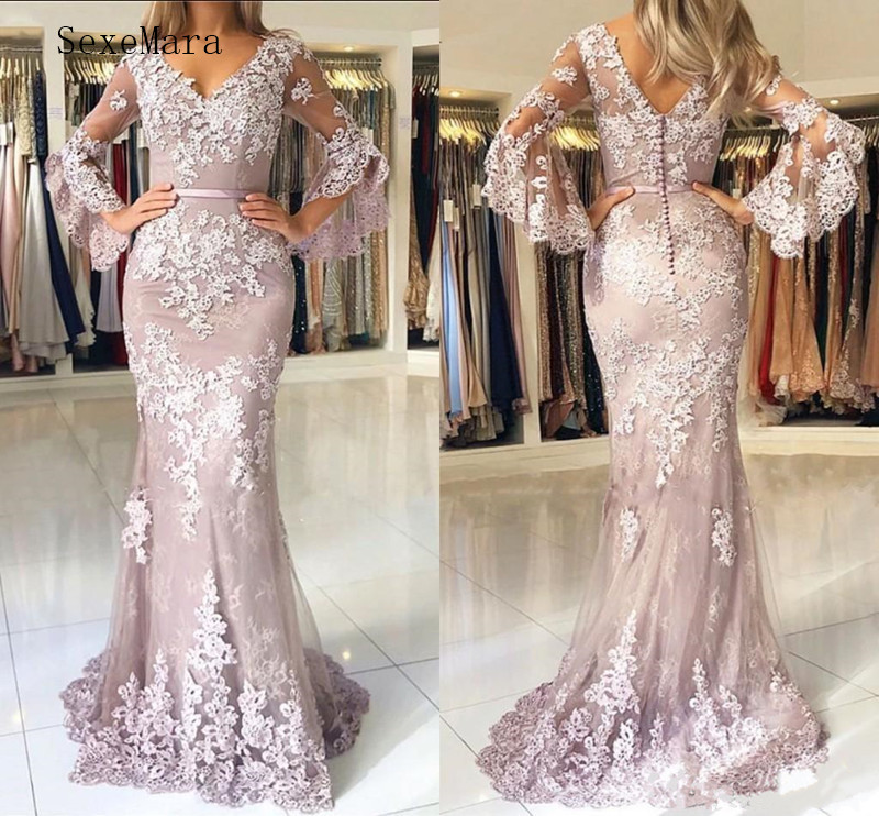 New Fasion Lace Tulle Mermaid Prom Dress with Lace Appliques V-Neck Backless Buttons Elegant Vestidos De Soriee Custom Made(China)