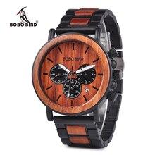 BOBO BIRD drewniane męskie zegarki Relogio Masculino Top marka luksusowy stylowy chronograf zegarek wojskowy wielki prezent dla człowieka OEM