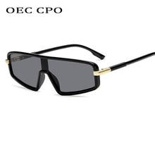 Fashion One Piece Lens Square Sunglasses Women Vintage Flat Top Gradient Sun Glasses Men Style Gafas Shades UV400 O8