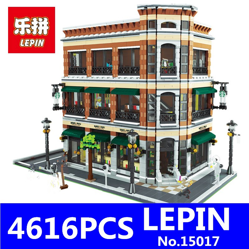 LEPIN 15017 4616Pcs City Series Street Creator Kits Starbucks Bookstore Cafe Model Building Blocks Bricks for Children Toy lepin 16008 4080pcs movie series creator cinderella princess city building blocks bricks kits toys for children compatible 71040
