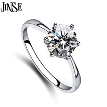 RNS016  Hot selling Women Clear Zircon Inlaid Wedding Bridal Engagement Party Jewelry Ring Size 6-9