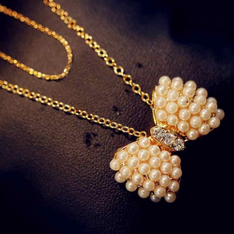 ใหม่แฟชั่นขนาดเล็กใหญ่โบว์เลียนแบบ Pearl จี้สร้อยคอทองคำคริสตัลหวานยาว Chain Clavicle Chain
