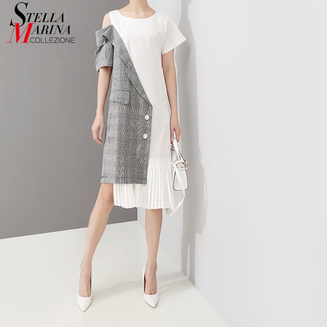 2019 Korean Style Women Summer Patchwork Pleated Asymmetrical Dress Open Shoulder Ladies Casual Wear Midi Dress Robe Femme 5108