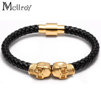 2016 Nature Agate Jewelry Men S Bracelets Genuine Leather Titanium Steel Bracelet For Men Skull Charms