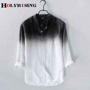 Image 3 - Holyrising גברים פשתן חולצה חדש קיץ גברים של פשתן חולצה גברים מותג חולצה mens שיפוע כחול חולצות זכר מזדמן 18814  5