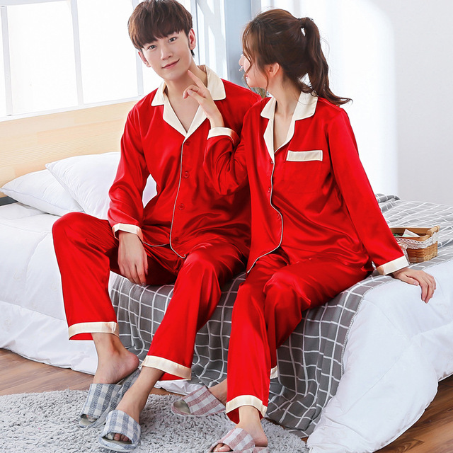 X Casual Negligee 2PCS Nightwear For Men Summer Faux Silk Shirt&Pant Red Pajamas Set Loose Home Clothes Intimate Lingerie L-XXL