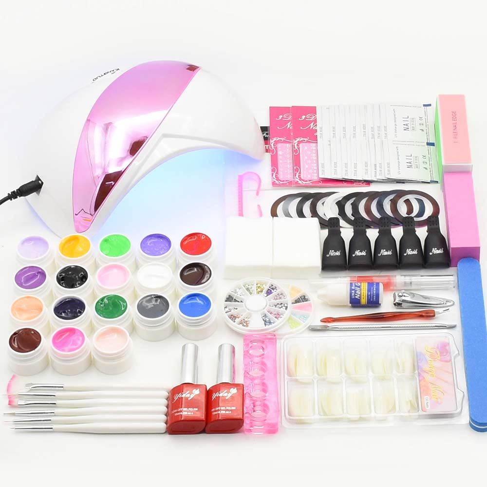 Jewhiteny UV LED Lamp Dryer 18 Color UV Gel polish Nail Art Kits Sets Soak Off Gel Practice Set File kit Nail Art Manicure Tool nail art manicure tools set uv lamp 10 bottle soak off gel nail base gel top coat polish nail art manicure sets