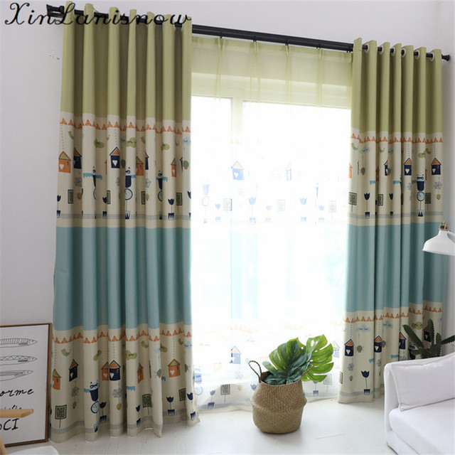 New Cartoon Digital Printing Children Curtains For Living Dining Room  Bedroom Curtains Wholesale Blue Girl Boy