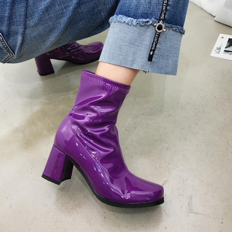 Patent Leather Boots Children's Round Head Thick With Short Boots Women Spring And Autumn 2018 New Purple Chic Martin Boots цена 2017