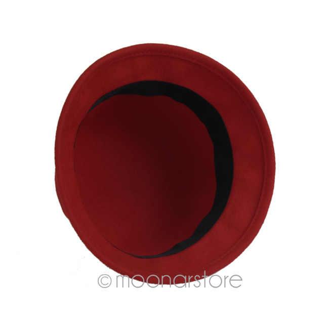 024ea69c70203 ... Free shipping Multi Colors Women Girls Ladies Wool Vintage Fold Brim  Bowler Derby Top Hat Billycock