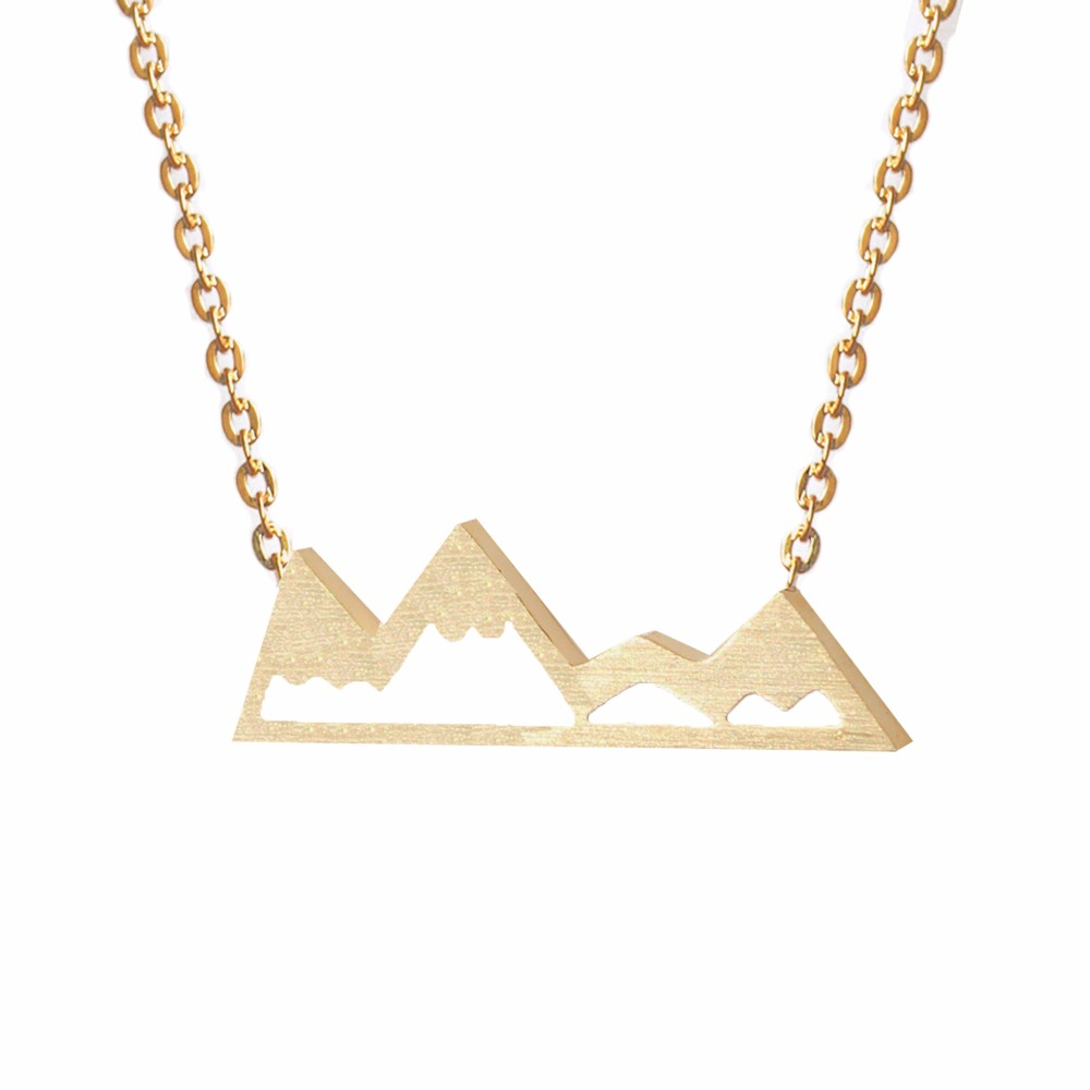10PCS Fashion Dainty Mountain Top Charm Snowy Necklace Nature Lovers Skiers Hikers Campers (Gold Silver Rose Gold)