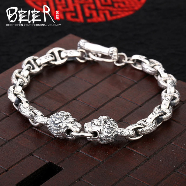 Lion Head Man Bracelet Lbeier 925 Sterling Silver Link Chain Animal Hand Sctysl0134