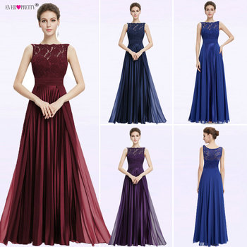 Ever Pretty Evening Dresses Gorgeous Formal Round Neck Lace Long Sexy Red Women Party 2020 EP08352 Special Occasion Party Dress 2