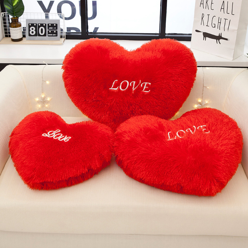 classic red heart cushion love pillow plush toy red heart shaped sofa cushion room ornaments boys girls birthday gifts