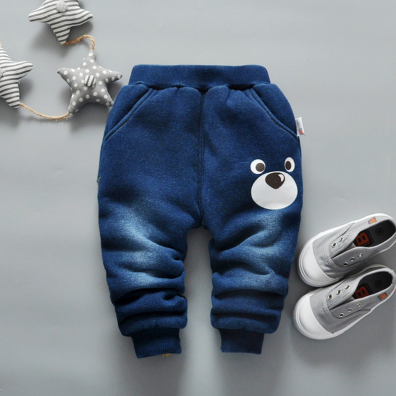 BibiCola Baby Boys Warm Denim Trousers Infant Boys Winter Casual Thicken Full Length Pants Newborn Boys Fashion Jeans Pants