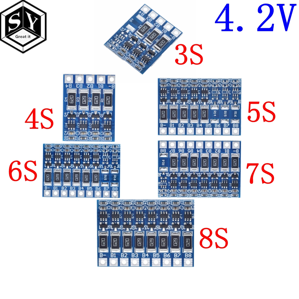 3S 4S 5S 6S 7S 8S 21V 4.2v li-ion balancer board 18650 li-ion balncing full charge battery Balance Function Protection Board(China)