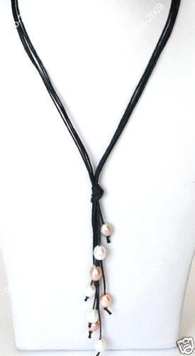 Regalo de las mujeres palabra Amor envío de la venta Caliente nuevo Estilo>>>>> nueva Moda Negro Cuerda de Cuero Blanco y Rosa Perla de Agua Dulce collar