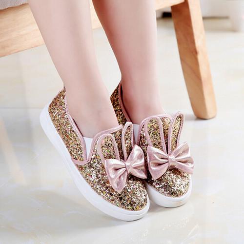 2016 moda de nueva Zapatilla Niños zapatos con lentejuelas arco orejas de conejo de oro zapatos de La Princesa zapatos de Las Muchachas Niños sneakers