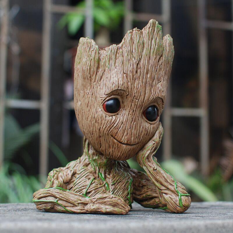 Bebé maceta figuras de acción guardianes de la galaxia juguete árbol hombre lindo modelo de juguete pluma pote gota libre